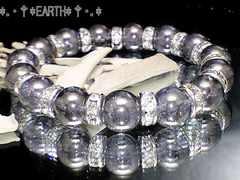 天然石★10ミリ銀色爆裂水晶・銀色ロンデル数珠
