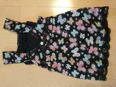 蝶々ちょうちょ柄/キャミソール付き袖なしワンピース☆サイズ100�p