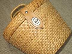 木材製カゴバッグ*取っ手付バスケット*上質