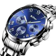 クラシックメンズ防水マルチ機能クォーツ腕時計 ブルー