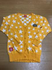 BABYDOLL☆ブロックチェック星柄カーディガン130☆イエロー