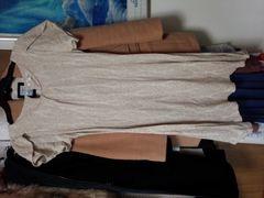 ルイシャンタン ベージュ半袖膝丈ワンピース柄入り国産Mサイズ