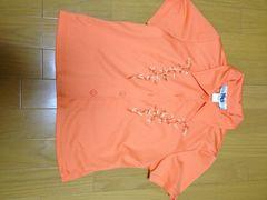 新品海外インポート ネオンフラワーオレンジシャツ