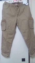 タグ付き☆アクシーズ・サイドポケット綿麻パンツ・Lサイズ