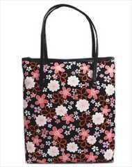 和柄手提げバッグ黒色地八重桜小桜縦型 日本製 和装着物&卒業式袴