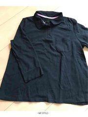 黒/無地/7分丈/ポロシャツ/通気性◎/LLサイズ