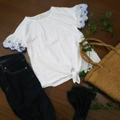 〇ZARA girls〇お袖刺繍の裾結びTシャツ*・゜未使用品