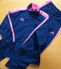adidas  ピンク×紺  ジャージ上下(140)