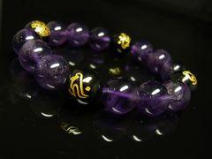 守護梵字ブラックオニキス×天然アメジストブレスレット 12mm数珠