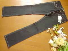新品Aiコーデュロイ切り替えジーンズ黒デニムパンツS