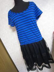 mysty woman★青ボーダーワンピ♪Tシャツシフォン♪