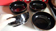 黒 中鉢 うどん皿 ラーメン 深め 厚みあり 丼ものにも 4点セット