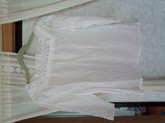 袖 胸元編みレース ホワイト