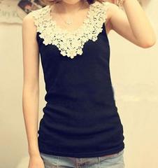 *【4L】大きいサイズ*Cute♪flower刺繍タンクトップ 黒 ブラック 即決