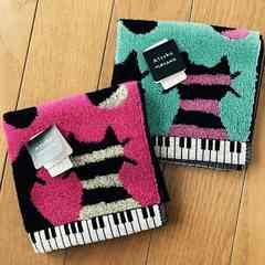 ATSUKO MATANO タオルハンカチ<猫と鍵盤>色違い新品2枚セット
