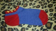 婦人 ハート柄 靴下 ブルー&レッド
