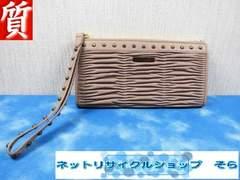 質屋☆本物 バーバリー 長財布 ジップ ギャザー 超美品