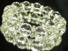 開運パワーストーン!64面ダイヤカット水晶14mm数珠ブレス