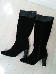 新品◆Sorridere◆スウェード折り返しレザーロングブーツ黒LL