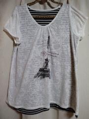 美品洋服半袖エッフェル塔Tシャツ、ボーダー柄3Lサイズ