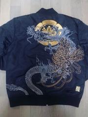セール 新品 絡繰魂 家紋に龍 刺繍 MA-1 ジャケット アウタ- スカジャン 好きも