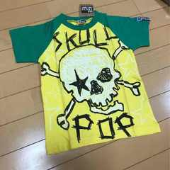 新品◆ドクロスカル◆半袖Tシャツ◆グリーンイエロー110