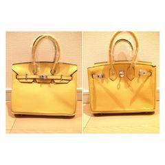 25黄色イエローハンドバッグ新品シルバー金具鍵鞄