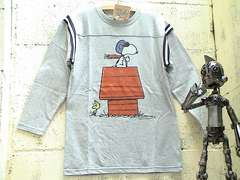 SNOOPY★FB七分Tシャツ新S GY T-1#[SALE!