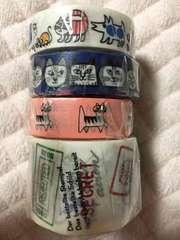 マスキングテープ 4個セット 猫柄 ねこ マステ