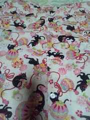 ☆新柄生成×黒猫と鈴と花柄ダボシャツ120