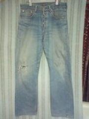 リーバイス501色落ちダメージジーンズ