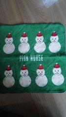 ピンクハウス新品タグなしタオルハンカチグリーンに雪だるま