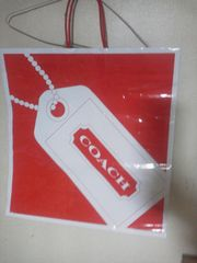 CACH 手提げショップ紙袋/赤×白/47×45.5×17.5cm(大)