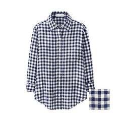 ユニクロ*プレミアムリネンシャツ*七分袖*ネイビー