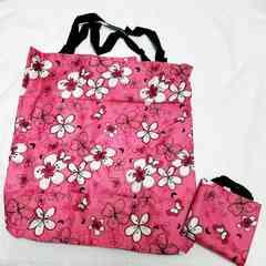 新品 花柄エコバッグ 折りたたみバッグ 収納ミニバッグ付