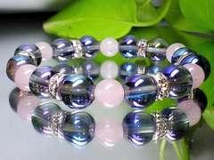 蒼と桃色の色合い天然石◆アクアオーラブルー・ローズクオーツ紅水晶
