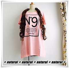 新作★大きいサイズLL NO.9ロゴプリTシャツ/綿100%*ピンク