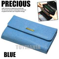 新品 大容量 アコーディオン 財布 三つ折り 長財布 レディース ブルー