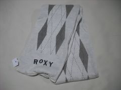 om96 ROXY ロキシー ニットマフラー チェック柄 カーキ