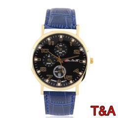 腕時計 メンズ  高品質レザー 革 ベルト ウォッチ ネイビー
