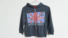 新品:サイズ130:グレー×イギリス国旗×スカル柄パーカー
