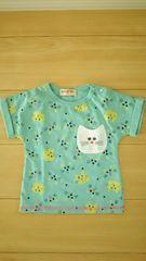 未使用 キッズ 半袖Tシャツ サイズ95 ねこ総柄 グリーン