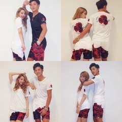 Datura/ダチュラ/レッドローズロゴメンズTシャツ/ホワイト