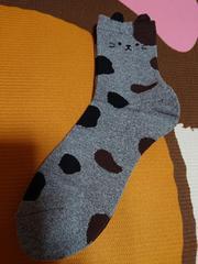 新品、靴下、くつ下、22�p〜25�p、猫、ネコ、動物、灰色