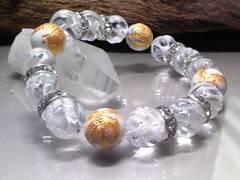 四神獣ハウライト§トルネード水晶12ミリ銀ロンデル数珠