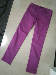 ANAP◆アナップポケットレオパード柄刺繍カラースキニーパンツ紫
