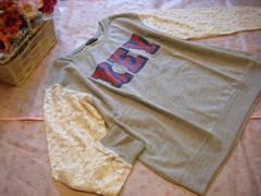 大きいサイズ 3L袖花レースガーリー可愛いロゴトップス☆グレー
