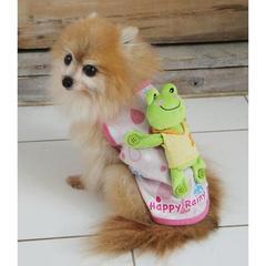 犬服 カエルをおんぶしているシャツ/ピンク/L