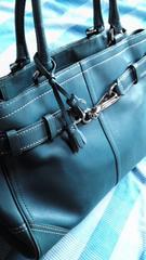 鑑定済必見人気のブルーレザーCOACHトートバッグ