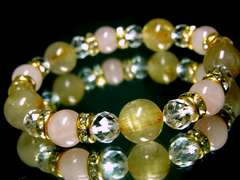 ルチルクォーツ金針水晶12ミリ§ローズクォーツ10ミリ§ダイヤカット水晶8ミリ§金ロンデル